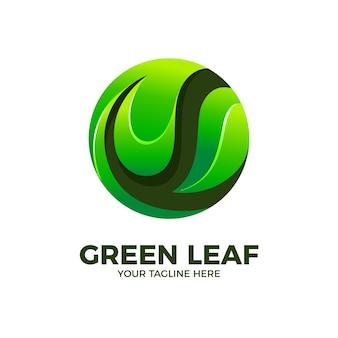 Zielony liść natura 3d logo wektor szablon