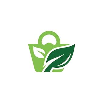 Zielony liść natura i torba na zakupy projektowanie logo handlu detalicznego