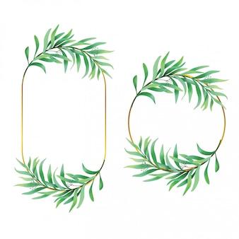 Zielony liść ramki w stylu przypominającym akwarele
