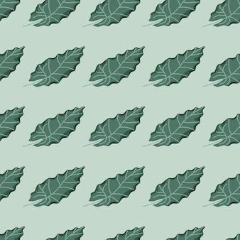 Zielony liść sylwetki wzór w stylu botanicznym wyciągnąć rękę.