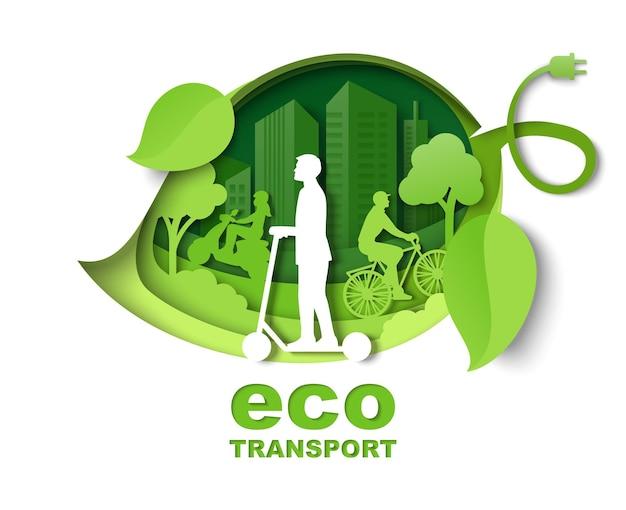 Zielony liść z miejskimi budynkami ludzie jeżdżący na rowerze skuter wektor wycinany z papieru ilustracja miasto eko ...