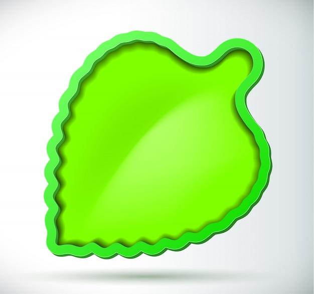 Zielony liść z ramką i cień