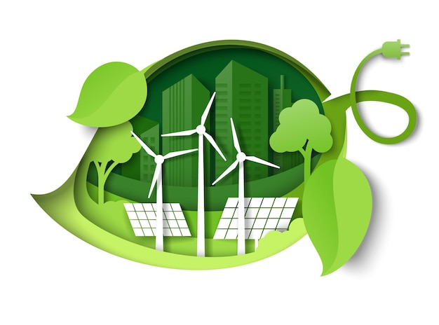 Zielony liść z wiatrakami panele słoneczne drzewa budynki miejskie sylwetki wektor cięcia papieru ilustracja...