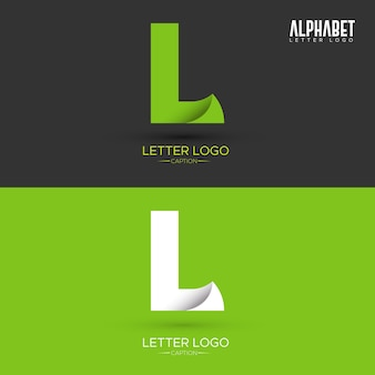 Zielony list w kształcie liści organicznych l list logo