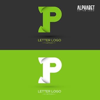 Zielony list w kształcie liści organicznych logo litera p