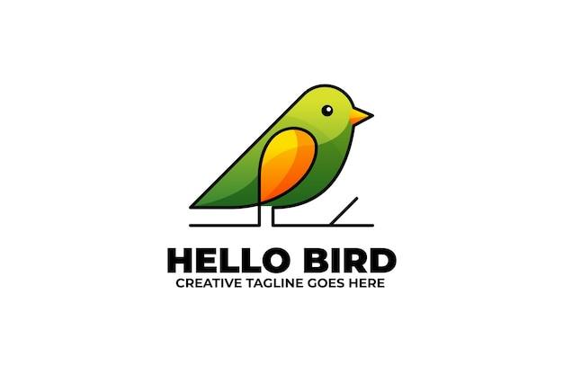 Zielony mały ptaszek jednokolorowe logo gradientu