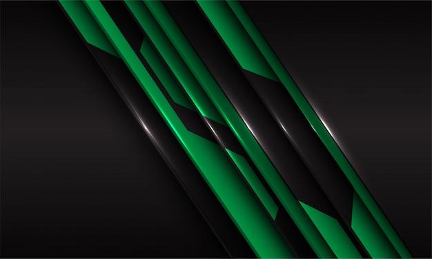 Zielony metaliczny obwód linii cięcia czarny futurystyczny technologia tło.