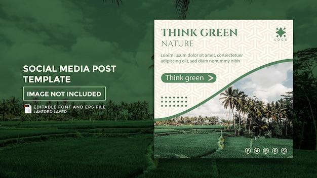 Zielony motyw przyrody szablon postu w mediach społecznościowych