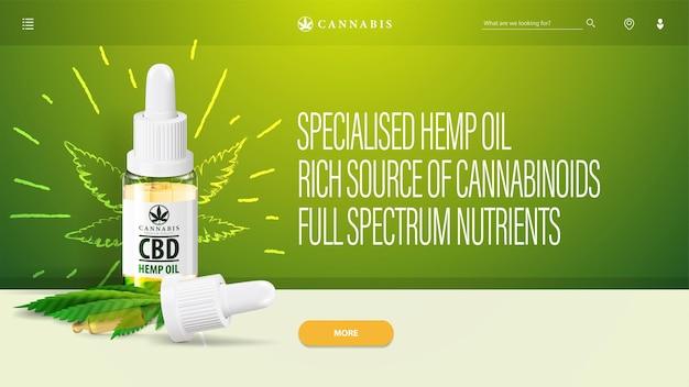 Zielony nagłówek z olejem cbd i elementami interfejsu strony internetowej. baner na stronę internetową z butelką oleju cbd z pipetą i liśćmi marihuany