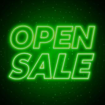 Zielony neonowy znak otwartej sprzedaży