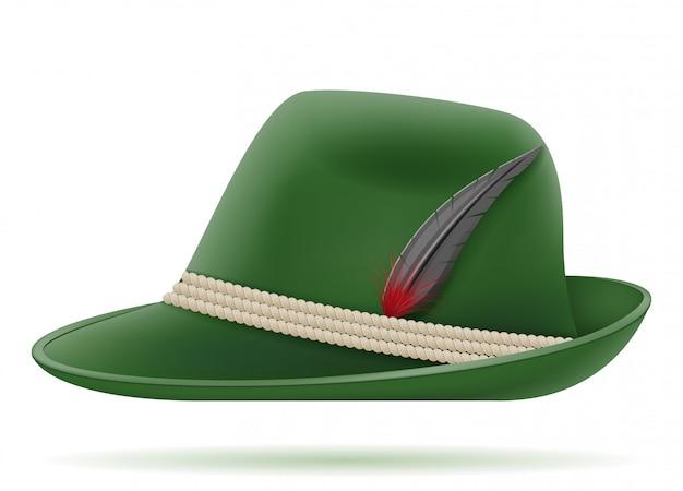 Zielony niemiecki tradycyjny kapelusz