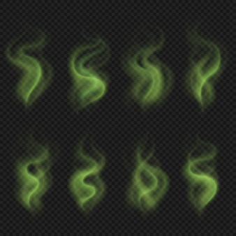 Zielony nieprzyjemny zapach pary, toksyczny smród dymu, brudny człowiek smród smród wektor zestaw na białym tle