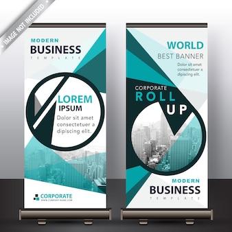 Zielony nowoczesny biznes roll up banner
