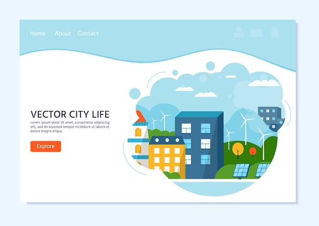 Zielony nowoczesny dom z panelami słonecznymi i turbiną wiatrową. ekologiczna alternatywna energia. krajobraz miasta ekosystemu. ilustracja wektorowa płaski. szablon do lądowania