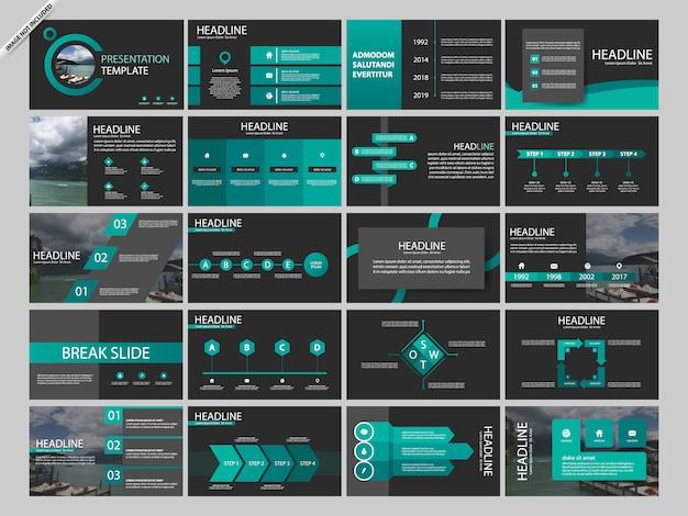 Zielony pakiet presentaion infographic szablonów