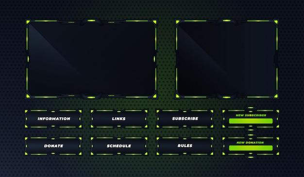 Zielony panel twitch zestaw szablonu projektu