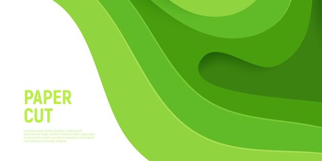 Zielony papier wycięty warstwami szlamu 3d abstrakcyjne tło i zielone fale.