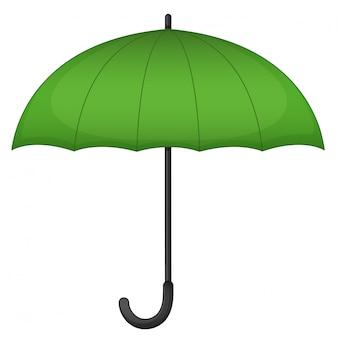 Zielony parasol na białym tle