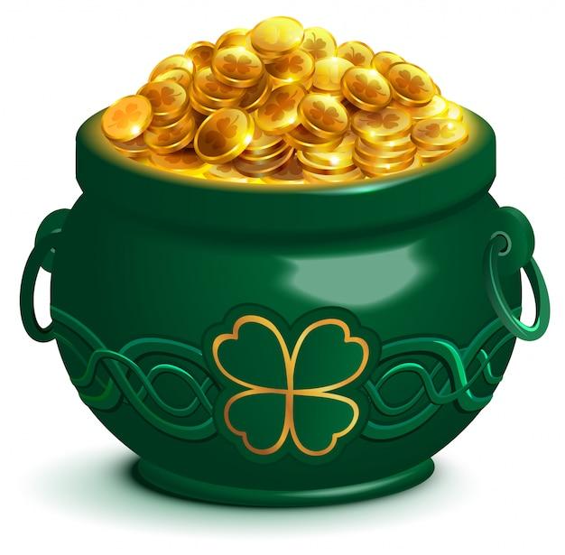 Zielony pełny garnek ze złotymi monetami. doniczka z czterolistną koniczyną symbolem patricks day