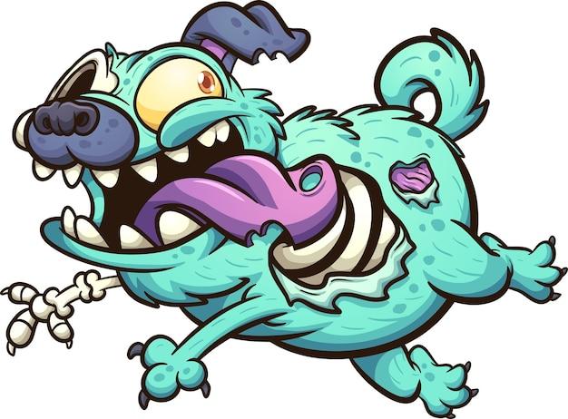 Zielony pies mops zombie biegnący z wystawionym językiem