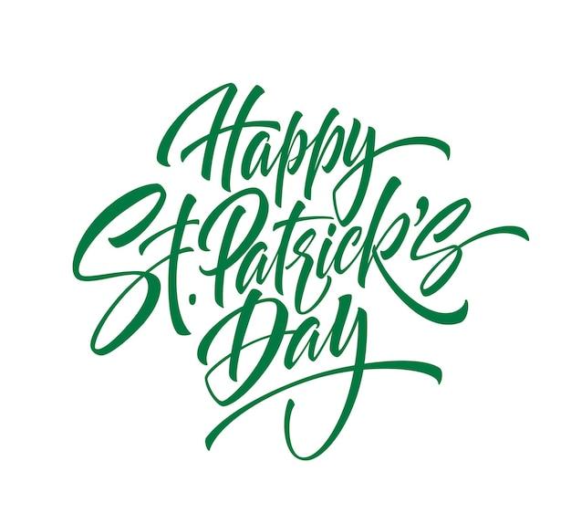 Zielony pisma napis happy saint patrick's day na białym tle