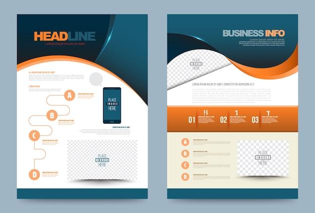 Zielony pomarańczowy roczny raport broszura ulotki projekt szablonu