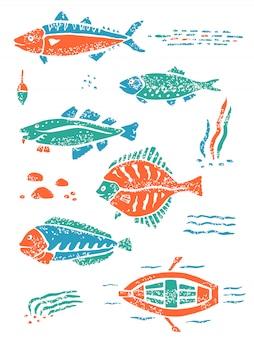 Zielony pomarańczowy zestaw ryb w stylu lino naiwny