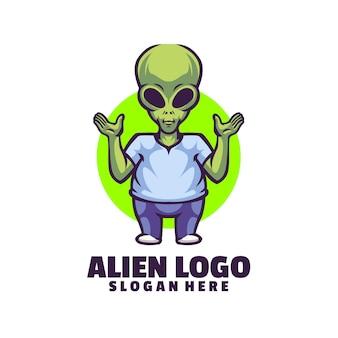 Zielony projekt logo obcych z uniesionymi rękami.