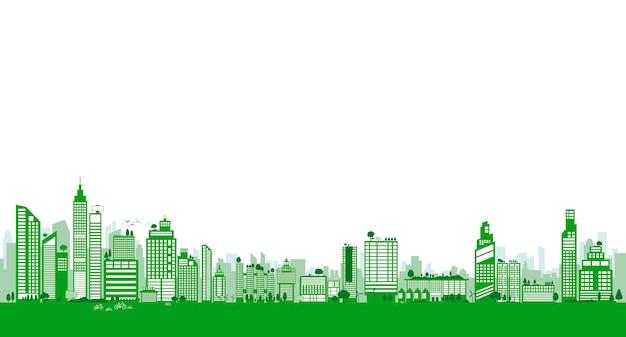 Zielony projekt miasta budynku i drzewa z miejsca na kopię