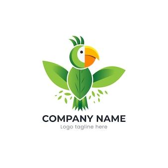 Zielony ptak papugi wykonany z koncepcją logo liścia