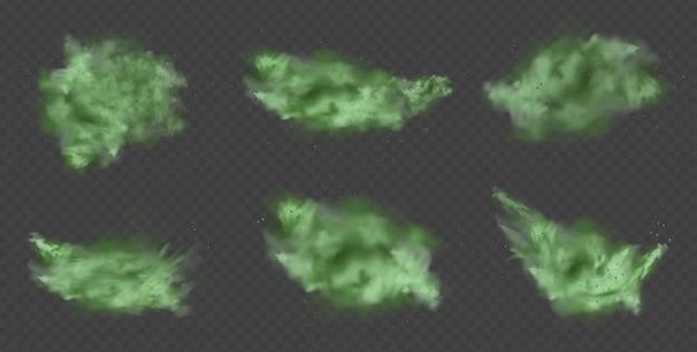 Zielony pył abstrakcyjny rozmyty dym z zielonymi cząsteczkami dym lub kurz na przezroczystym tle