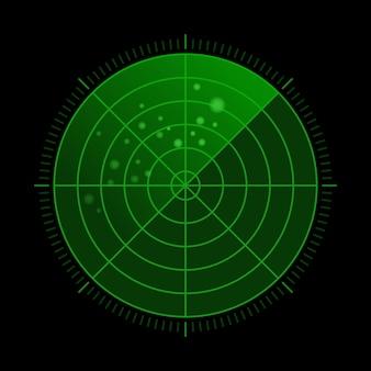 Zielony radar hud z celami w akcji. system wyszukiwania wojskowego