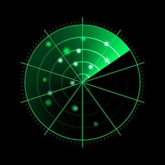 Zielony radar na białym tle na ciemnym tle