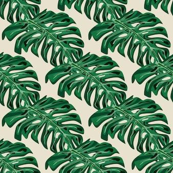 Zielony ręcznie rysowane zwrotnik palm monstera pozostawia bezszwowe doodle wzór. pastelowe szare tło. płaski nadruk wektorowy na tekstylia, tkaniny, opakowania na prezenty, tapety. niekończąca się ilustracja.