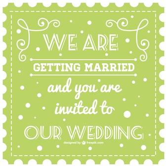 Zielony retro wektor karta ślub