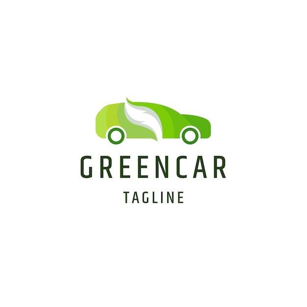 Zielony samochód eko natura logo ikona projekt szablon płaski wektor