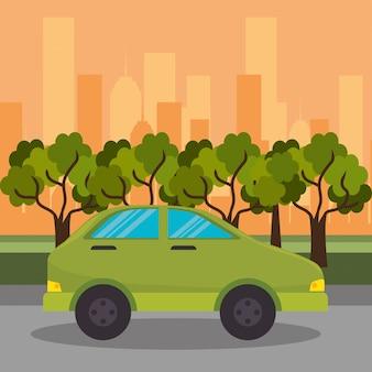Zielony samochód ulica ulica miasto