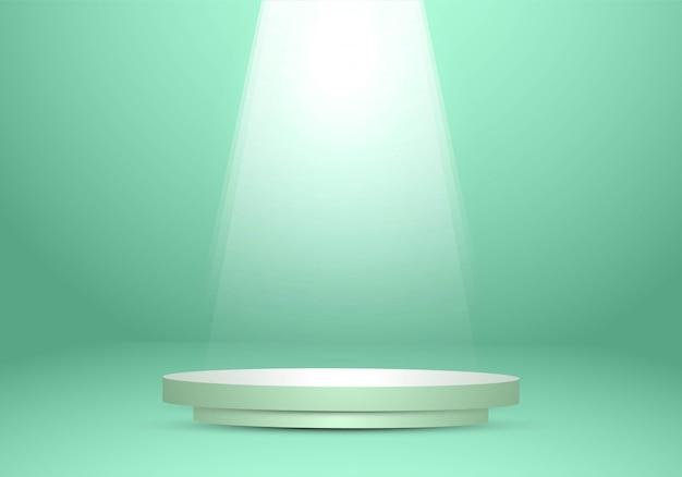 Zielony ścienny pracowniany tło z podium światłem reflektorów