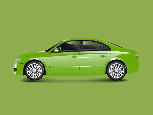 Zielony sedanu samochód w zielonym tło wektorze