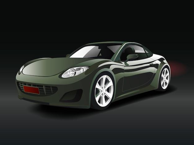 Zielony sporta samochód w czarnym tło wektorze