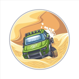 Zielony suv jadący przez trudne przeszkody na pustyni.