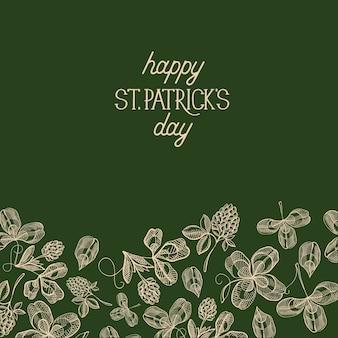 Zielony św. kartka dekoracyjna na dzień patryka z wieloma tradycyjnymi elementami pod tekstem o tym święcie ozdobiona ilustracji wektorowych liści