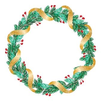 Zielony świąteczny wieniec ze złotą wstążką i dekoracjami