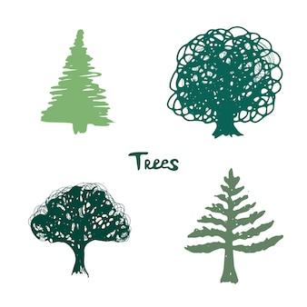 Zielony sylwetka drzew. ręcznie rysowane kolekcja na białym tle.