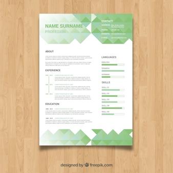 Zielony szablon programu nauczania o kształcie wielobocznym