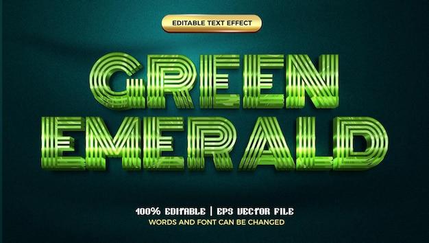 Zielony szmaragdowy luksusowy szablon stylu 3d z edytowalnym efektem tekstowym