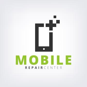 Zielony telefon komórkowy napraw i naprawy logo ikona szablon