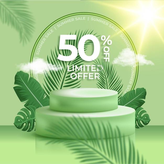 Zielony transparent sprzedaży letniej z realistycznym podium 3d