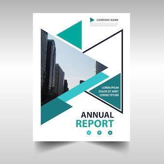 Zielony trójkąt twórczy roczny raport szablonu książki okładki