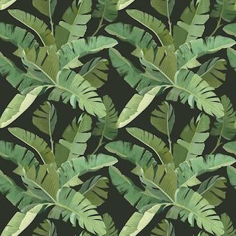 Zielony tropikalny banan liście palmowe i gałąź dżungli botaniczny zwrotnik wydruku na ciemnym tle. jednolity wzór, ozdobna tapeta z lasem deszczowym, papier, tkanina lub tkanina. ilustracja wektorowa